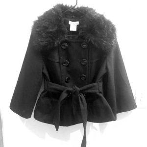Gorgeous! Cropped Black Coat w/ Attached Tie Belt